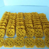 Granny Squares Lot  Solids  Gold by SnugableTouches on Etsy