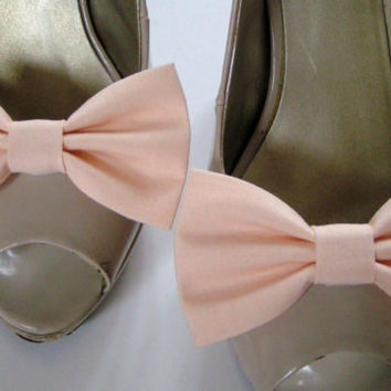 Shoe Clips - Shoe and Boot Fabric Bow Clips, Soft Peach color, Shoe clips, Boot clips, Bow shoe clip, Bow boot clip