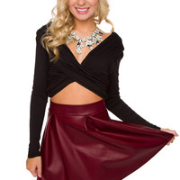 Primrose Pleather Skirt - Burgundy