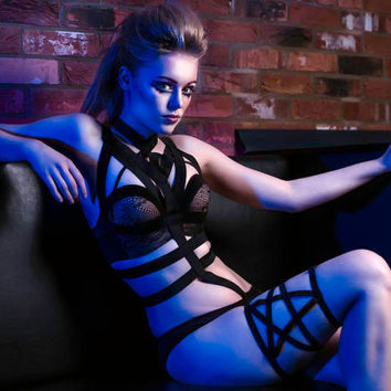 Pentagram Lingerie Thigh Harness top goth 90's hiptster scene style by MALICE