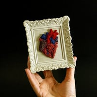 3D Anatomical Heart in a Mini Frame. Punchneedle Embroidery Fiber Art. Home or Office Decor.Red, Blue, Purple. Gift for Lover, Heart Doctor.