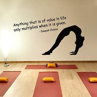 Wall Decor Vinyl Decal Sticker Pilates Fitness Quote Sport Girl Anything That Is of Value in Life Only Multiplies When It Is Given Gym Bedroom Living Room Home Interior Design Kg820
