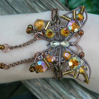 butterfly copper bracelet with gemstones gypsy boho hippie gothic and fantasy style