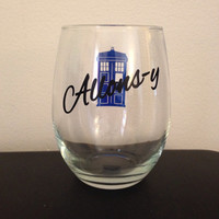 Allons-y stemless wine glass #DoctorWho #Allons-y #tenthdoctor #wineglass