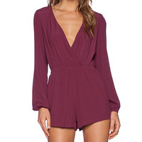 Lovers + Friends Monday to Friday Romper in Burgundy
