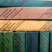 Vintage Lloyd C. Douglas books, a Collection of Nine Classic dramatic novels in shades of green with red.
