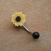 Sunflower Belly Button Jewelry Stud Ring- Daisy Navel Piercing Bar Barbell Yellow Azeetadesigns