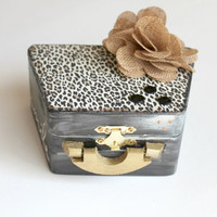 Black and Gold Leopard Jewelry Box, Leopard Print Box, Altered Wood Box, Decorative Box
