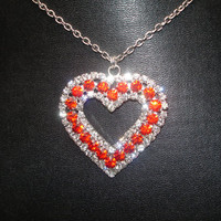 Red and Clear Rhinestone Silver Tone Heart Necklace