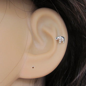 Tiny Baby Elephant Cartilage Earring, Elephant Tragus earring, Nose stud, Helix earring