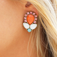 Colorful Gem Oversized Studs