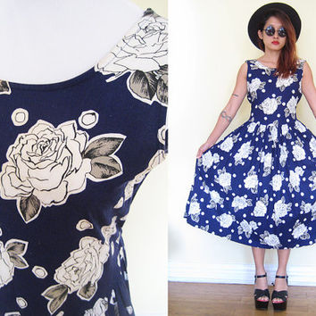 Vintage cotton pleated rose print maxi full skirt navy blue sleeveless hippie boho bohemian housewife day dress