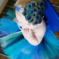 baby headband peacock feather clear rhinestone for infants toddler or big girls you choose color of headband