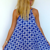 Ladies Swing Dress - Cobalt Blue & white Coffee Bean Print with Cobalt Pom Pom's