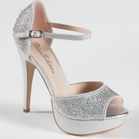 High Heel Glitter Platform with Heel Stones