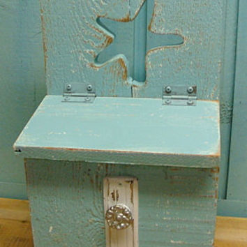 Beach House Turquoise and White Weathered by CastawaysHall on Etsy