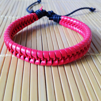 red Leather Cotton Ropes Woven WomenJewelry Bangle Cuff Bracelet 1305A