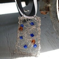 Sterling Silver Woven Rectangle Pendant  Cobalt by MozieandMario