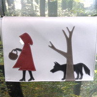 Red Riding Hood and the Wolf Gray Vinyl Messenger by kittyempire3