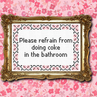 No coke in the bathroom cross stitch PDF pattern