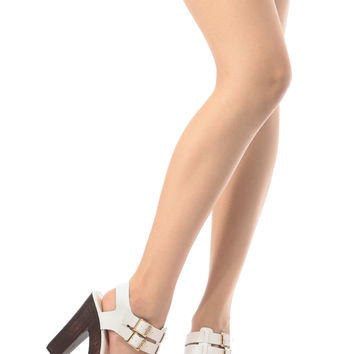 White Faux Leather Double Buckle Chunky Platform Heels