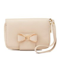 Beige Bow-Topped Wristlet Wallet by Charlotte Russe