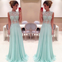 Slim Chiffon Evening Dress High Neck prom party dress Sleeveless Lace Appliques Prom Dress Party Gown