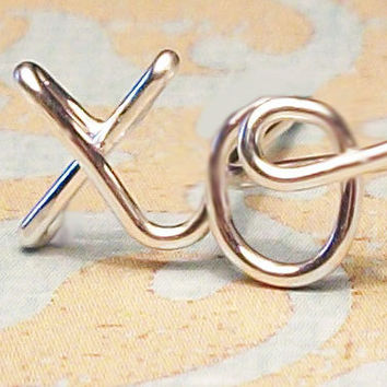 """Cartilage Earring, xo """"hug & kiss"""" Earring, Sterling Silver or Gold Filled"""