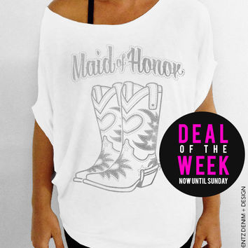Cowgirl Boots Maid of Honor - White with Silver Slouchy Tee