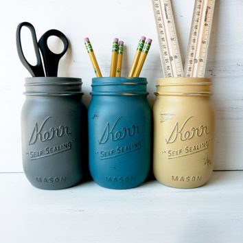Office Bloke - Home / Office / Dorm Decor - Painted and Distressed Mason Jars - Vase
