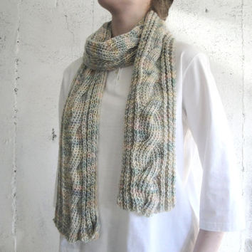 Cabled Watercolor Scarf, Hand Knit Kid Mohair & Silk, Women + Teen Girls, Long Thin Luxury, Soft Warm Winter Spring
