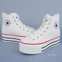 "Women Hi Top Canvas 2"" Platform Sneakers Shoes Black,White,Red,Pink,Blue,Yellow"