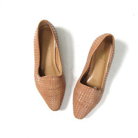 vintage woven leather flats. braided loafers. tan nude colored slip ons.