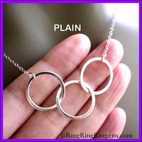 TRIO Sterling silver necklace jewelry Three rings by RingRingRing