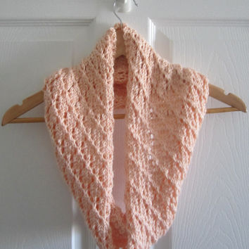 Eco Friendly Scarf - Hand Knit Cowl - Peach Scarf - Spring Loop Scarf - Made in Canada - Acrylic Circle Scarf - Lacy Scarf - Open Knit Scarf