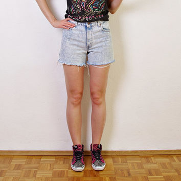 80s LEVI'S 550 Acid Wash Shorts. Made in USA. Cutoffs Cuffed Shorts. Distressed Denim. High Waisted. Zip fly. W30