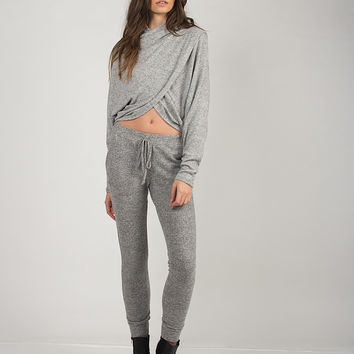Tiger Brushed Sweat Pants - Gray
