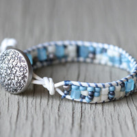 Wrap Bracelet : Pure White and Blue Beaded Bohemian Friendship Cuff, Brushed Silver Floral Button, Adjustable, ArtisanTree, Wedding
