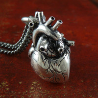 "Anatomical Heart Necklace Antique Silver Anatomical Heart on 32"" Gunmetal Chain"