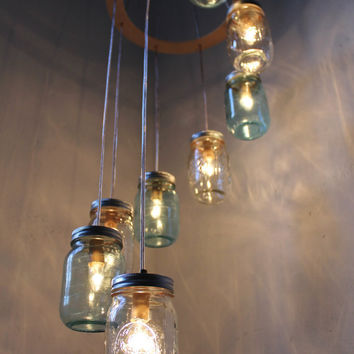 Waterfall Spiral Mason Jar Chandelier - Swag Lamp Handcrafted Upcycled Eco Friendly BootsNGus Hanging Pendant Fixture