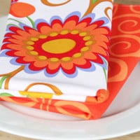 Napkins  Floral with Orange Squiggle  Set by toocutecustomcrafts