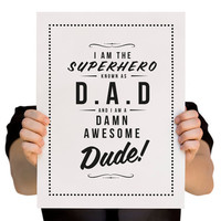 Father's Day Retro Inspired Giclee Print by RockTheCustardPrints