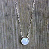 Moonstone Pendant Necklace on Sterling Silver Chain Layering Necklace with Genuine Moonstone Opal Silver Charm