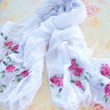 Shabby Chic White Cotton Gauze Fringed Beaded Scarf with Hand Painted Roses