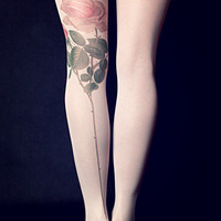 Pink Rose - Milky Tattoo Tights - Free Shipping - Made to order :)