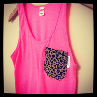 Neon Pink and Leopard Tank by CoastCouture on Etsy