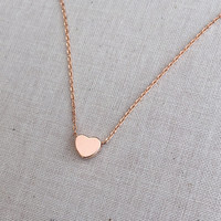 Small Rose Gold Block Heart Charm with Dainty Rose Gold Chain Necklace #rosegold #heart #heartnecklace #minimalistjewelry
