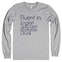 Fluent In Shirt-Unisex Heather Grey T-Shirt