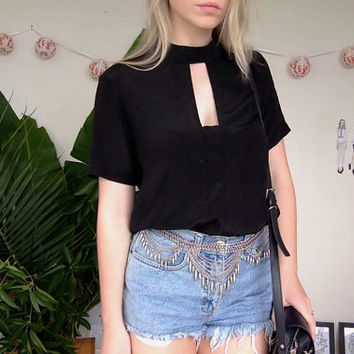 Vintage Black Silk Shirt With Cut Out