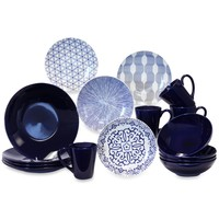 Baum Brothers Blue and White 16-Piece Dinner Set